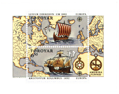 Faroe_stamps_225-226_Discovery_of_America